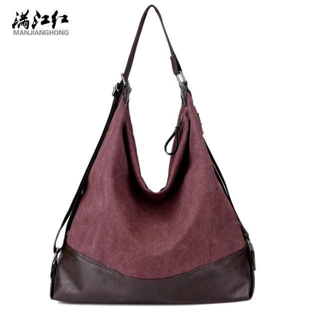 98d8c9f440 Manjianghong Khaki Coffee Purple Women Canvas Bag Summer Fashion Casual  Popular Canvas Handbag Woman s Shoulder Bag 1349