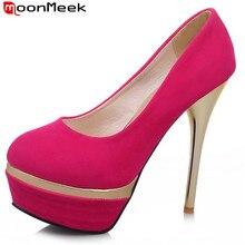 Moonmeek сексуальные туфли на платформе стадо женщины насосы круглый носок большой размер 31-44 тонкие ультра высокие каблуки лето черный свадебная обувь женщина