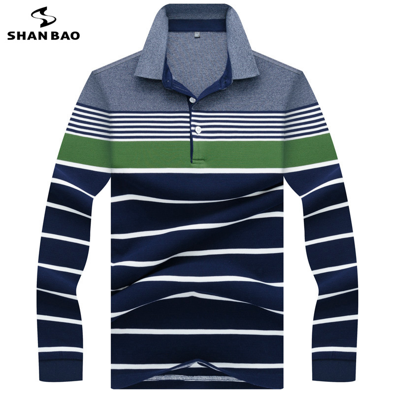 SHANBAO Luxury High Quality Cotton Striped Long Sleeve   Polo   Shirt 2019 Spring New Style Business Gentleman Men's Lapel   Polo