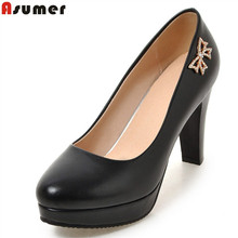Asumer big size 32-46 fashion new arrive women pumps solid shallow spring autumn single sho