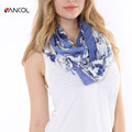Vancol Brand 2016 Spring New Arrival Infinity Tippet Summer Loop Blue Butterfly Print Cotton Scarves from India Foulard Femme