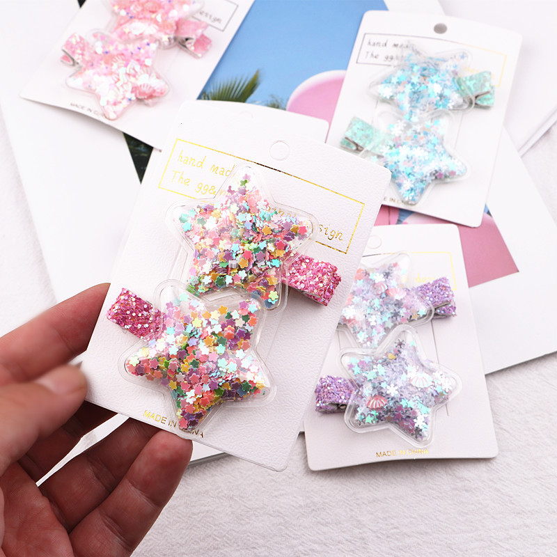 2pcs/lot Shining Star Hair Clip Quicksand Infant Hairpins Girl Star Clip Children Girls Sequins Hairpin Hair Accessories