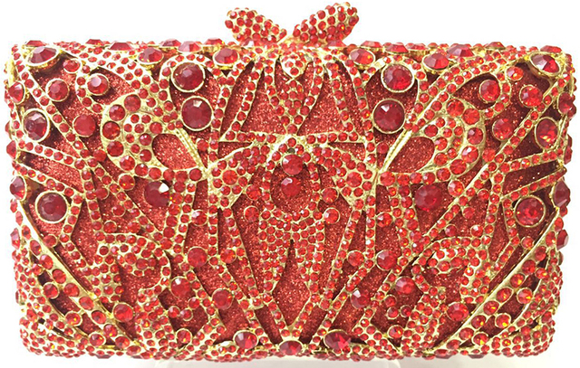 Red with Diamonds Clutch Chain Bag Women Luxury Crystal Party Purse  Rhinestones Bling Clutch Purse Sparkly Ladies Evening Bag c887c426e138