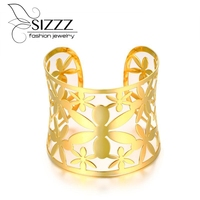 SIZZZ New Listing European And American Style Personalized Jewelry 6CM Stainless Steel Hollow Gold Open Bangle For Women