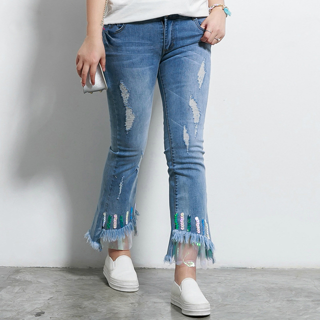 c2d979a3ec9 Women Flare Jeans Plus Size Skinny Jeans Woman Sequin Mesh Ripped Jeans For  Women Large Size Denim Pants Pantalones Jeans Mujer
