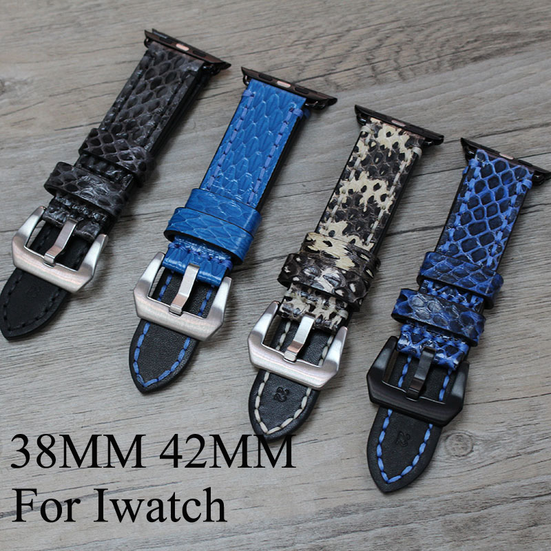 38mm 42mm Apple Watchband,Special Design Python Leather Apple Watch Strap Belt,For Iwatch Apple Watch With Adapter 38mm 42mm apple watchband special design handmade leather watch strap 4 color available for iwatch apple watch free shiping