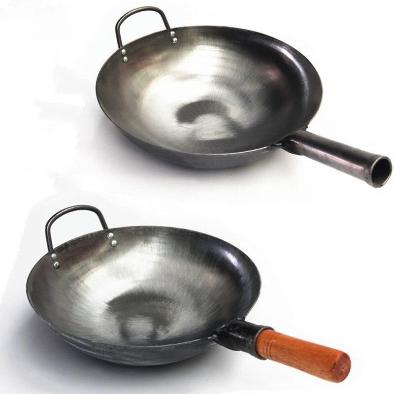Haute qualité chinois fer Wok traditionnel fait à la main fer Wok poêle antiadhésive cuisinière à gaz ustensiles de cuisine 30/32/34 cm