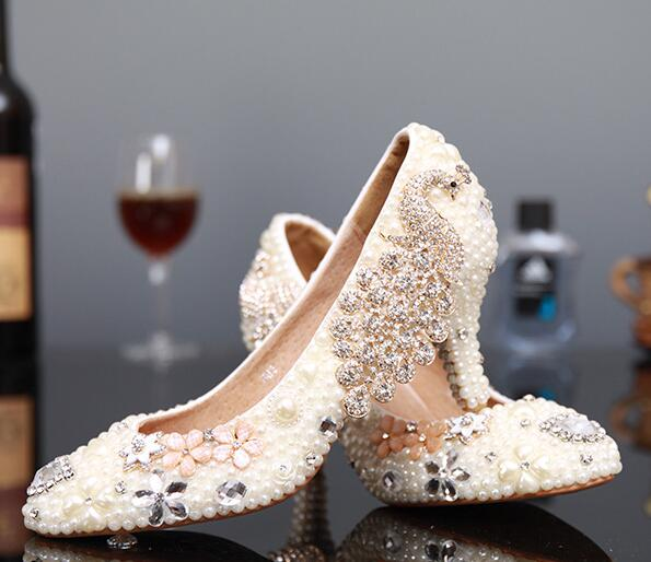 ФОТО R-free shipping Korean princess sexy white wedding shoes women pumps girls cowhide genuine leather rhinestone bride heels