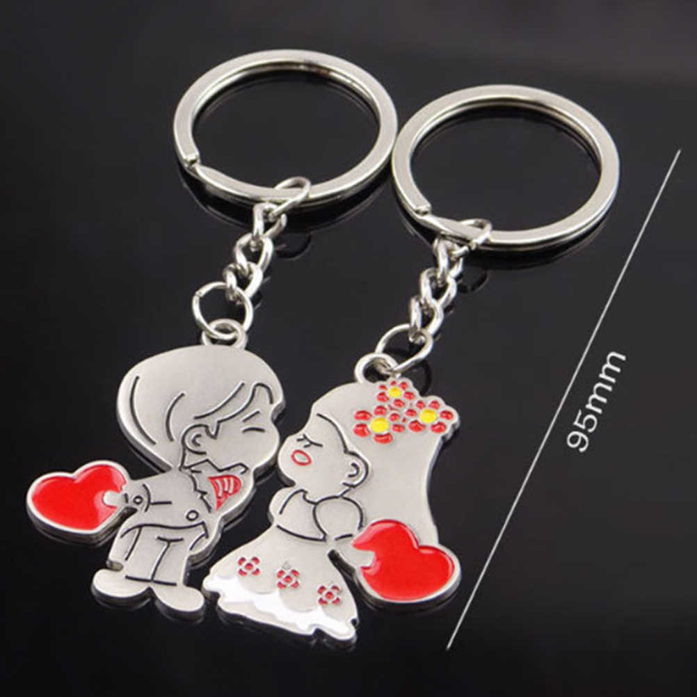 9367e052f6 ... 2pcs Valentine's Day Gifts Love Couples Keychains Keyring Set  Personalized Couples Jewelry Girl and Boy Kiss ...