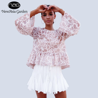 NewAsia Garden 2017 New Fashion Loose Tops Women Casual Cute Butterfly Sleeve O Neck Tops Lace