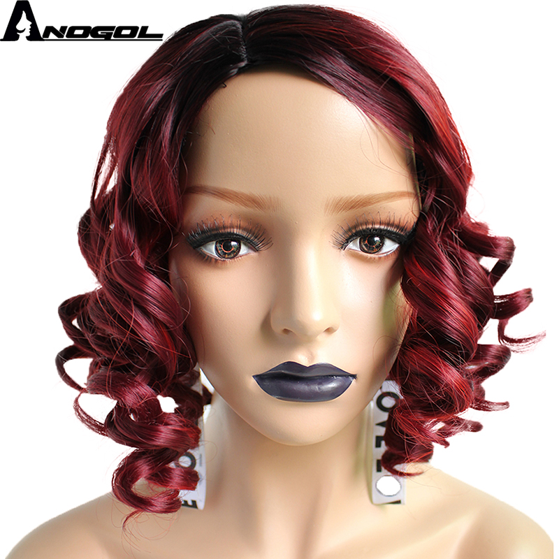 Anogol High Temperature Fiber Peruca Cabelo Black Ombre Wine Red Full Short Deep Wave Bob Hair Wigs Synthetic Lace Front Wig