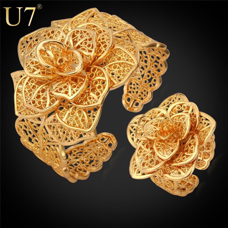 U7 Vintage Bracelet Ring Set Yellow Gold Plated Vintage Pattern Wholesale Exquisite Women Flower Jewelry Set