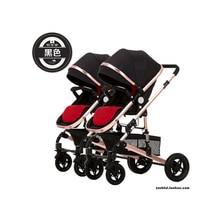 Двойная легкая складная коляска, может лежать, Новорожденный ребенок, высокий пейзаж, съемная двойная коляска, бесплатный подарок