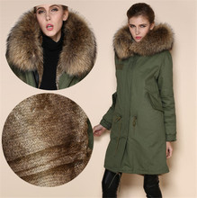High quality rabbit fur lined army green, black, dark blue coats Mr Mrs fur hood long jacket faux grass hare fur lining parka