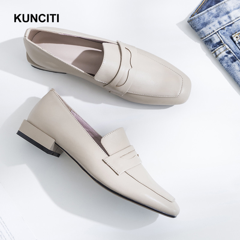 Newest 2019 KUNCITI Genuine Leather Oxford Loafers Square Toe Women Flat Office Shoes Slip On Ladies