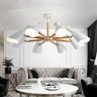Nieuwe Collectie Kroonluchter Verlichting Voor Woonkamer LED Kroonluchters Houten Lustres E27 Keuken Lichten Indoor Opknoping Licht-in Hanglampen van Licht & verlichting op