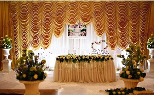 Hot Sale Golden 20ft*10ft falls wedding backdrops ,wedding stage draps color can be customed,Wedding Curtain