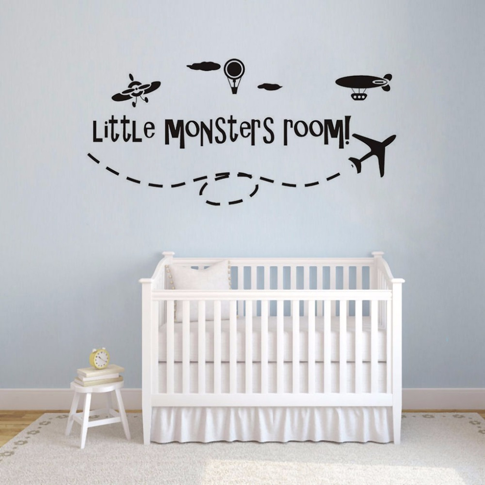 Boys Room Decor Aircraft Hot Air Balloon Vinyl Wall Sticker Little Monsters Room Wall Decal Kids Room Airplane Murals AY1513 image