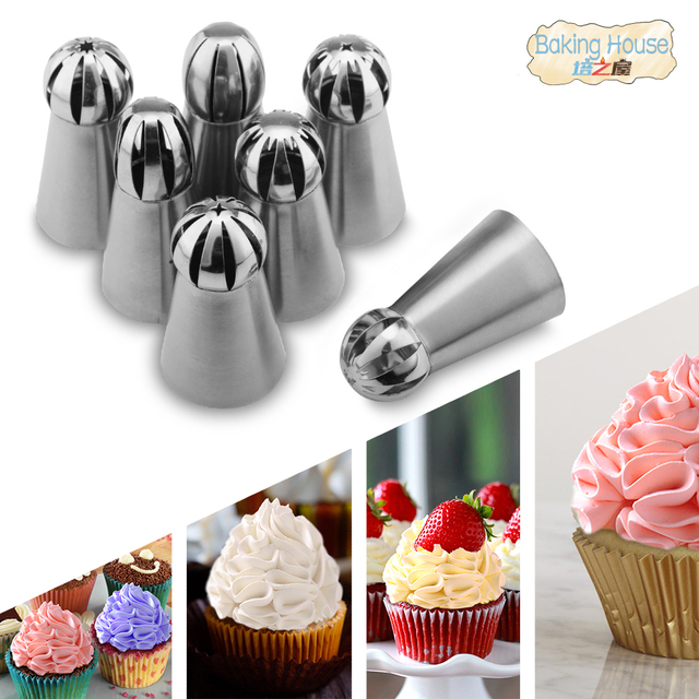 7PCS Russian Spherical Ball Stainless Steel Icing Piping Nozzle Pastry Tips Fondant Cupcake Baking Tip Tool Sphere Shape Cream