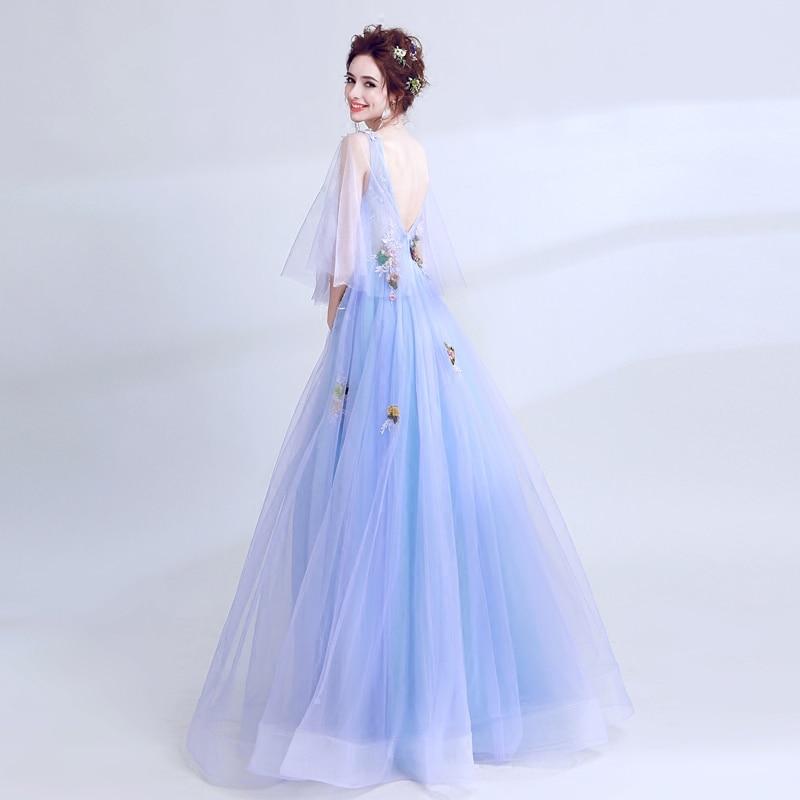 Tulle bleu à la main 3D fleurs appliques longues fée robes de bal avec manches Illusion col en v profond filles robe de Graduation Gala - 3