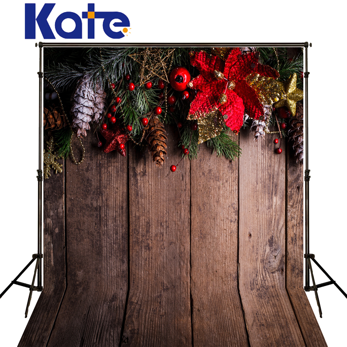 KATE Photo Background Christmas Photography Backdrops Wooden Plank Backdrop Red Floral Backdrops Vintage Background for Studio