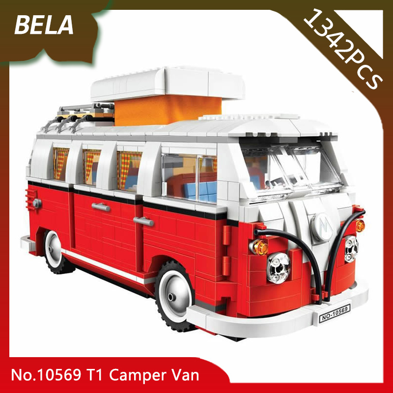 Bela 10569 1342pcs Creator Series Volkswagen T1 Camper Van Model Building Block Toy For Children Favourite Gift Compatible 10220 hand made tin model retro classic volkswagen camper van craft desktop display quality art work home decoration kid toy gift