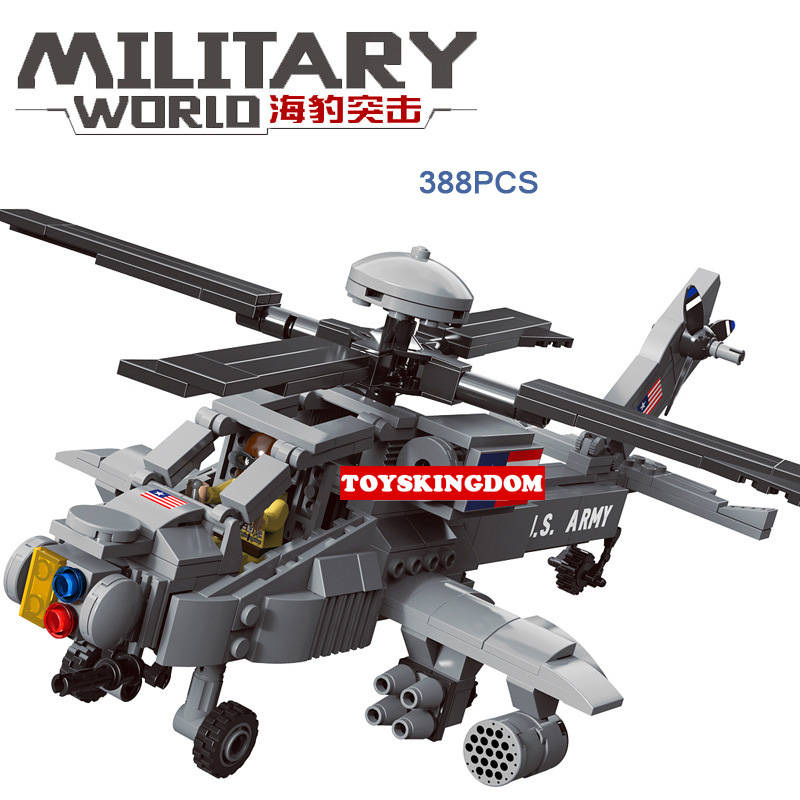 Military Attack Helicopter Army Apache Building Bricks Mini figure toy set NEW
