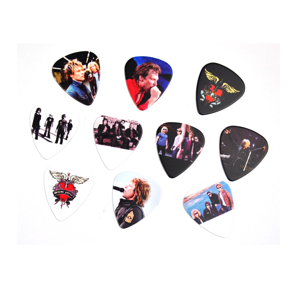 Lots of 10Pcs Rock Band Bon Jovi 2 sides printing Guitar Picks Plectrums Medium 0.71mm