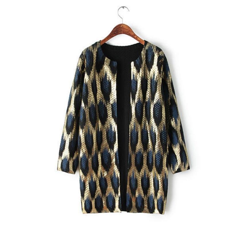 Brand New Fashion Ladies Leopard Print Gilding Middle long Design ...