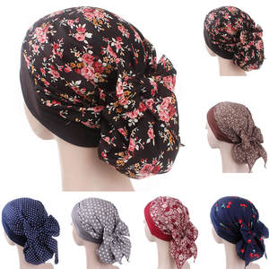 ISHOWTIENDA Women Print Muslim Turban Hat Cotton Chemo Cap 6c65bf46a8ba