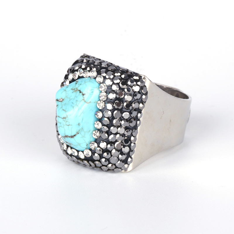 Big Raw Blue Turquoises Howlite Stone Bead Pave Black White Rhinestone Charm Silver Color Wrap Big Size Adjustable Ring Cuff