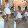 2017 White Short Backless Cocktail Dresses for Women Illustion Long Sleeves with Lace Applique Beads Evening Party Dresses