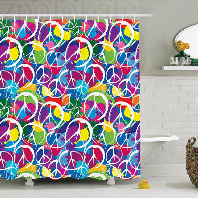 1960s Decor Shower Curtain Set Universal Peace Sign Symbol On