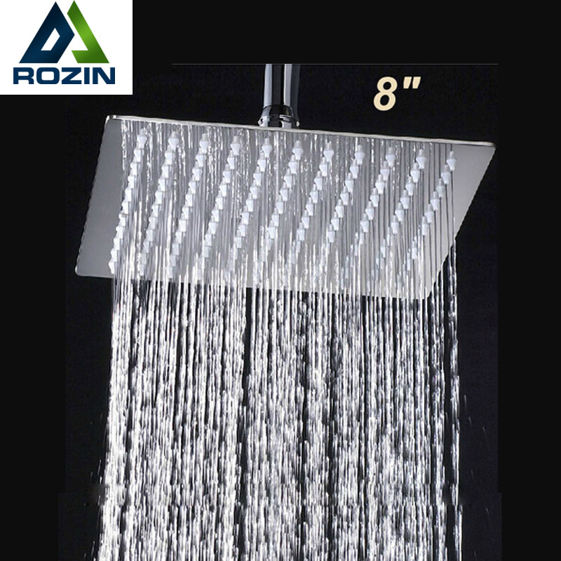 "Free Shipping 8"" Stainless Steel Square <font><b>Shower</b></font> Head Over-head <font><b>Shower</b></font> Sprayer Top <font><b>Shower</b></font> Head Chrome Finish"