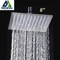 Free Shipping 8 Brass Square Shower Head Over Head Shower Sprayer Top Shower Head Chrome Finish