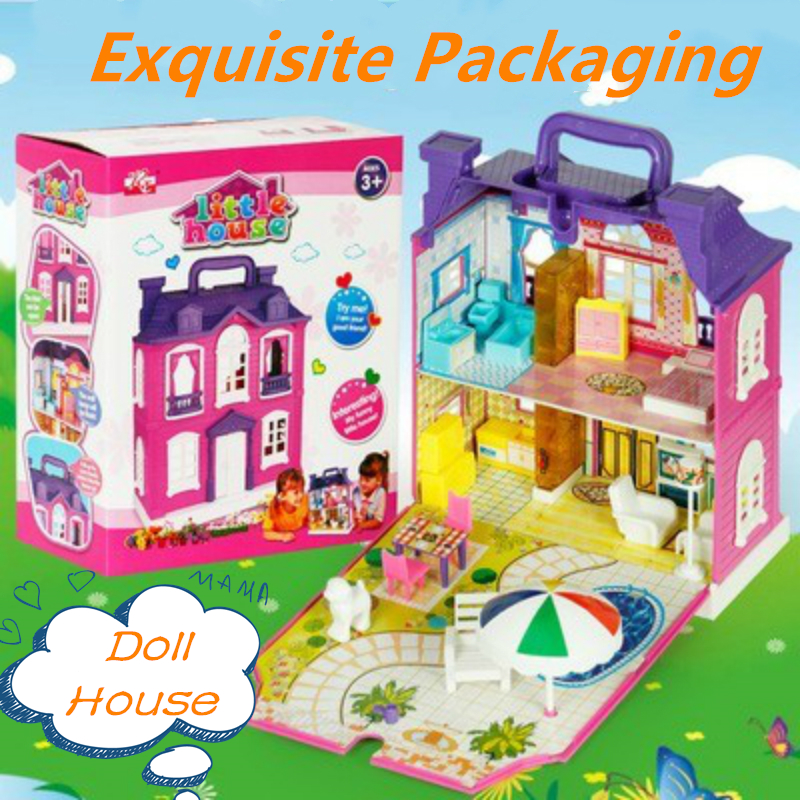 3D Realistic Doll Houses Furniture Music Light DIY Assembled Miniature Dollhouse Two-Storey Villa Model Toys For Children Gifts