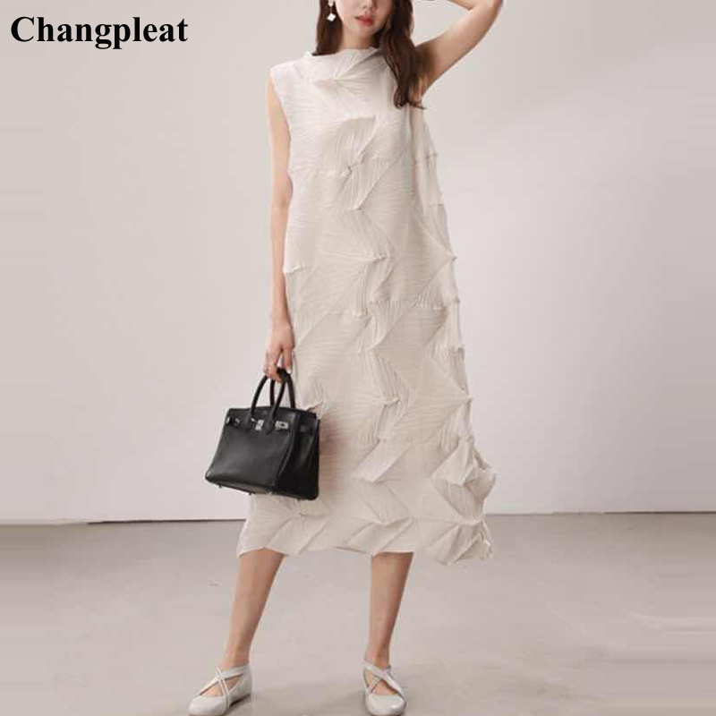 Changpleat 2019 Summer New Women loose sleeveless dress Miyak Pleated  Fashion irregular Solid Large Size Female Dresses Tide D98,in Dresses from