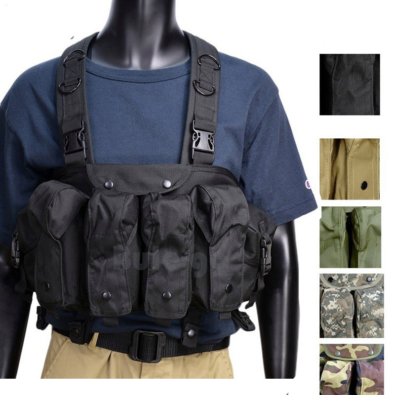 Outdoor AK 47 Magazine Carrier Combat Vest Military Camouflage Tactical Vest Airsoft Ammo Chest Rig Hunting Gear