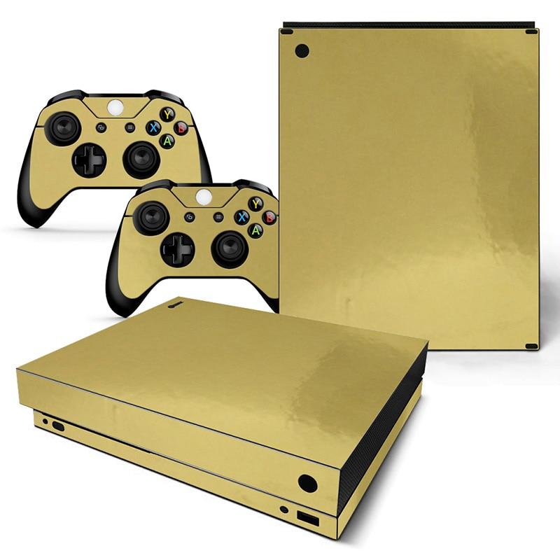 Neue Ankunft Gold Glänzende Haut Aufkleber Für Xbox One X Konsole Und Controller Senility VerzöGern Aufkleber Unterhaltungselektronik