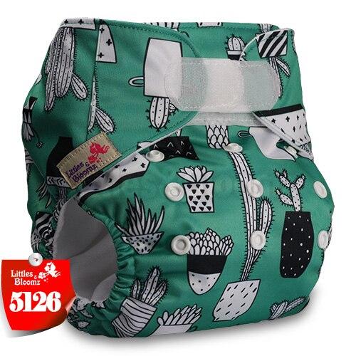 [Littles&Bloomz] Детские Моющиеся Многоразовые, настоящая стандартная ткань, застежка-липучка, карман для подгузников, пеленки, обертывание, подходит для рождения в горшке - Цвет: 5126
