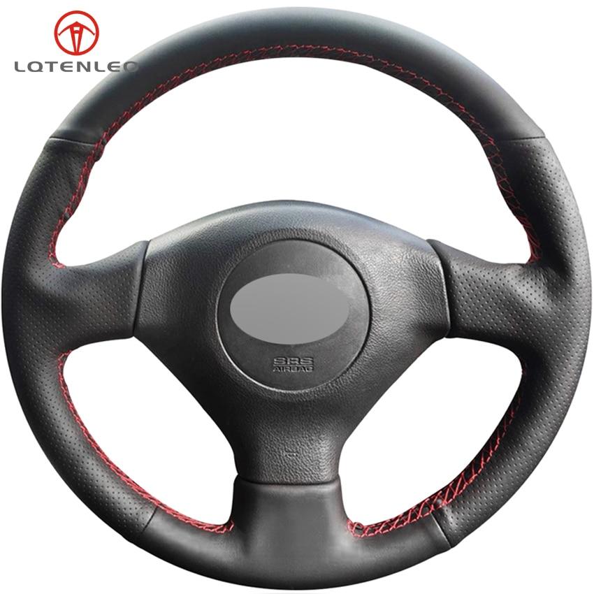 LQTENLEO Black Genuine Leather Car Steering Wheel Cover For Subaru Legacy Forester Outback Impreza 2003 2006