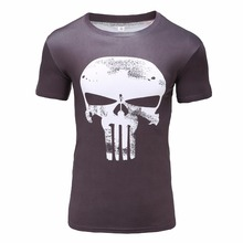 Punisher Skull 3D Print Fitness Compression Round Neck Short Sleeves Men's T-shirt