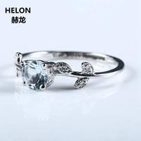 잎 여성 약혼 결혼 반지 고체 10 천개 화이트 골드 천연 아쿠아 마린 정품 다이아몬드
