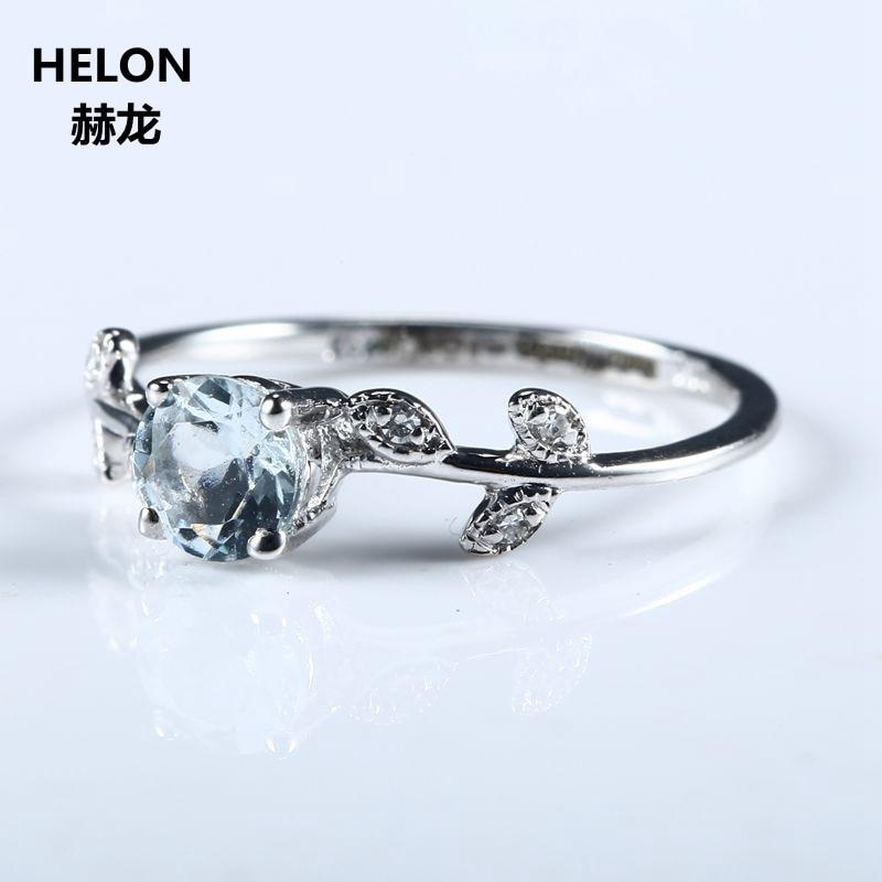 Leaf Women Engagement Wedding Ring Solid 10k White Gold Natural Aquamarine Genuine Diamonds Cute Romantic Fine Jewelry