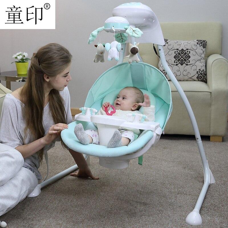 Bébé berceau électrique chaise berçante lit balançoire nouveau-né bébé intelligent balançoire sommeil gauche et droite balançoire chaise
