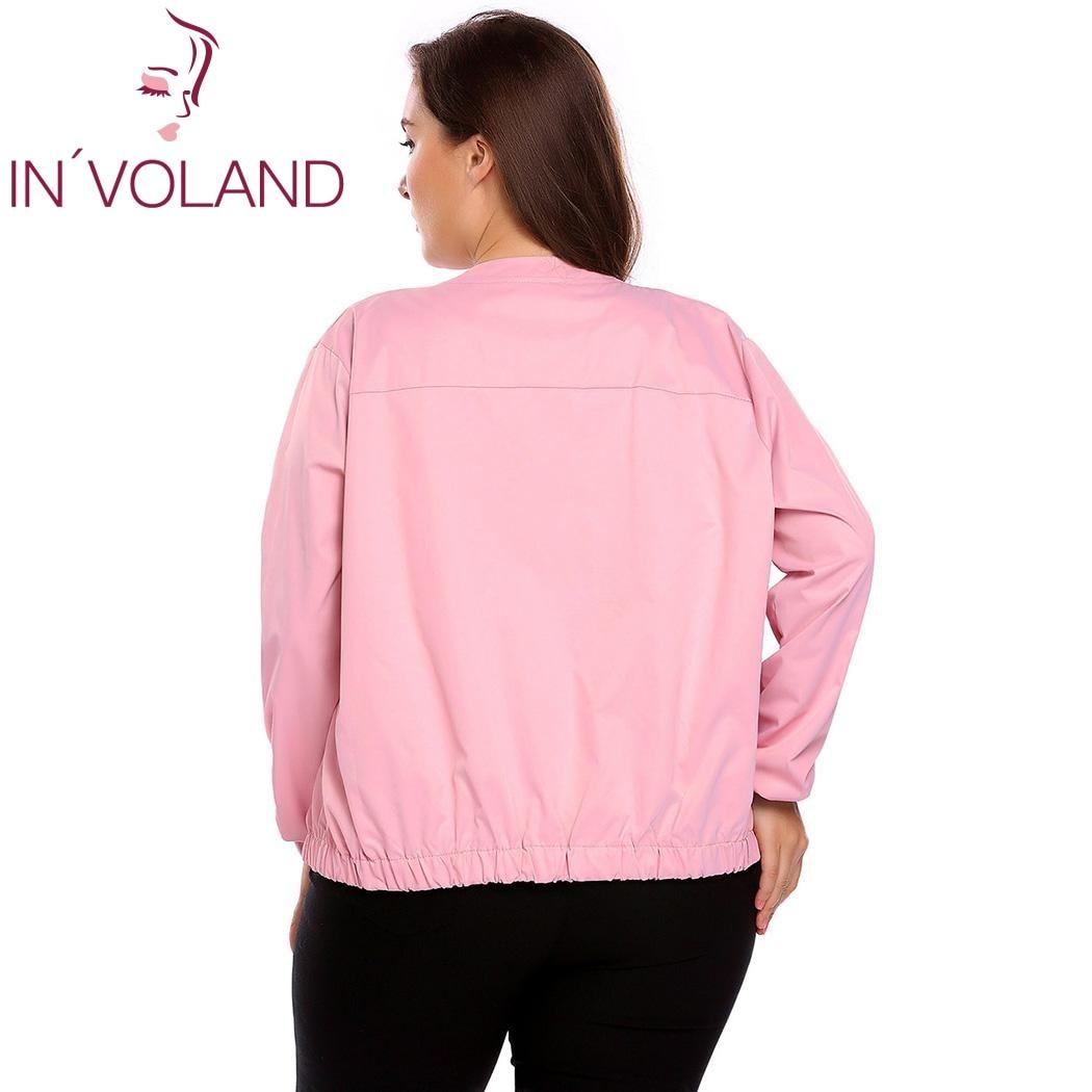 IN'VOLAND Big Size Women Bomber Jacket Autumn Fashion Mock Collar Long Sleeve Zipper Feminino Large Coat Tops Plus Size L-4XL 4
