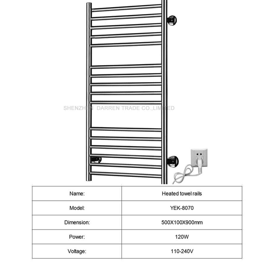 110 v/220 v soporte de riel de toalla calentada accesorios de baño estante de acero inoxidable electrictool calentador secador de toallas 120 W 1 pc - 2