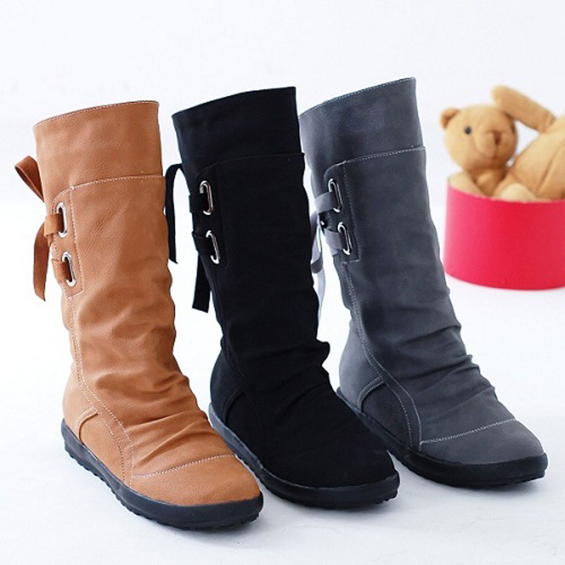 Women Fashion Round Toe PU Leather Shoes Mid Calf Boots Woman Back Strap Warm Fur Winter Shoes Casual Boots Big Size US:4-10 riding boots chunky heels platform faux pu leather round toe mid calf boots fashion cross straps 2017 new hot woman shoes