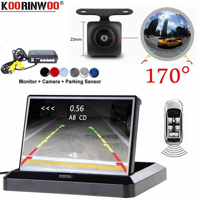 Koorinwoo Parktronics caméra de recul Fisheye grand Angle 170 avec moniteur TFT capteurs de stationnement de voiture Radars son Buzzer Jalousie