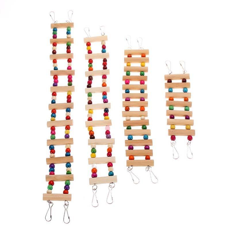 Деревянный попугай Drawbridge лестница для птиц поднимается канатная дорога хомяк игрушки птичья клетка мост обучение домашних животных с 4 крючками Прямая поставка - Цвет: 15cm